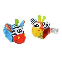 Baby Hand Wrist Strap Rattles - Animal Socks