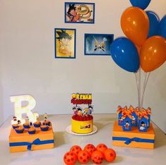Dragon Ball Z Party and Dragon Ball Super - Over 50 Ideas - Inspire Your Party ® - Dragon Ball Z Party and Dragon Ball Super – Over 50 Ideas - Goku Birthday, Naruto Birthday, Dragon Birthday, Ball Birthday, Dragon Party, Birthday Party Tables, 10th Birthday Parties, Birthday Decorations, Dbz