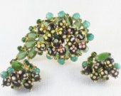 Vintage 50's DeLizza and Elster Juliana Sugar Bead Brooch and Earrings Set D & E Juliana Demi Parure