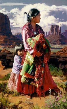 Beautiful Native American woman and child painting.