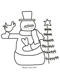 snowman & tree (with images) | snowman coloring pages