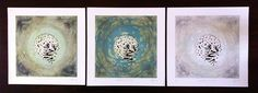 Old Moon, Snow Moon and Chaste Moon from the Moonglade Series Etching, collagraph and paper cut http://www.louisaboyd.com
