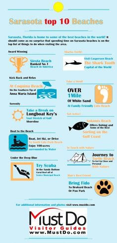 Infographic on Sarasota's top 10 beaches. See photos and more info about these beaches on MustDo.com