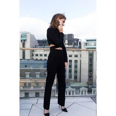 "On her final day of press in London, Emma kept things casual in a black ensemble by Phillip Lim. The actress explained on Instagram that the outfit was made from ""responsibly-sourced FSC (Forest Stewardship Certified) viscose, and Oeko-Tex 100 certified biodegradable acetate yarn.""  She completed the look with organic silk Burberry pumps.    Photo: Instagram"