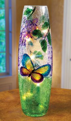 #28830 Lighted Wisteria Crackled Butterfly Glass Lamp by sensationaltreasures