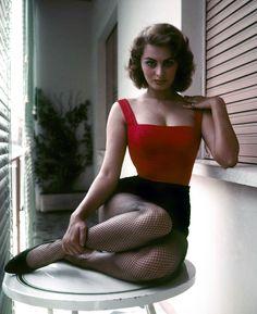 Young Sophia Loren in fishnet stockings (1960s)