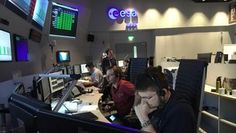 The ExoMars mission control team seen in simulation training at ESA's European Space Operations Centre, Darmstadt, Germany, on 15 September 2016.
