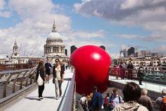 Kurt Perschke's RedBall Project,  Millennium Bridge, London