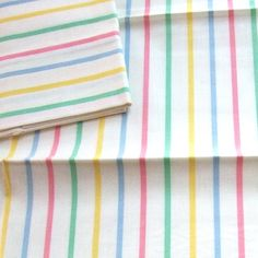 Pair Vintage Stripe Cotton Pillowcases with Tag by LinensandThings, sold