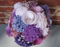 Purple and White  Felt, Yarn, and Paper Wedding Bouquet - Flower Arrangement - Centerpiece - Toss Bouquet - Radiant Orchid
