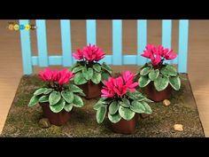 Miniature Paper Flower - Cyclamen ミニチュアの花 シクラメン作り - YouTube