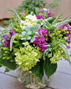 Hydrangea, Veronica, succulent floral arrangement from the garden