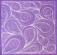Spiral Paisley is a fun free motion design to experiment with bending and twisting the initial tear drop paisley shape to see how this will effect the overall result. Learn to sew it at http://freemotionquilting.blogspot.com/2011/08/day-304-spiral-paisley.html