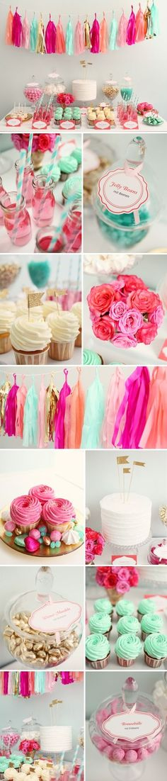 New thought: Have multiple shades of pink(2- dark and light), multiple shades of blue (2), maybe throw in some peach some turquoise/mint green!