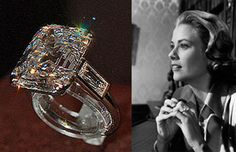 Grace Kelly's ring from Prince Rainier. She used it as her engagement ring in High Society instead of the one provided by props.