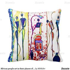 African people art in their phases of life pillow-Colors of red, blue, green, yellow an purple are shown on these colorful paintings on this African life phases pillow.