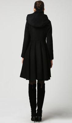Lhiver Manteaux manteaux laine noire manteau manteau