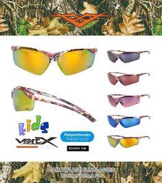 Description: VERTX Kids Camouflage Sunglasses  Frame: Assorted Camo Patterns  Lens: Assorted Polycarbonate