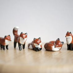 "Le Tricksy Red Fox Totems, 'Muses' collection - polymer clay sealed with polyurethane, about 1.75"" tall; handmade by Laura Johnston"