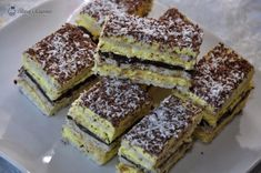 Cake with coconut and vanilla cream - Alina's Cuisine Pasta Recipes, Dessert Recipes, Romanian Desserts, Vanilla Cream, Sweet Cakes, Tiramisu, Deserts, Food And Drink, Coconut