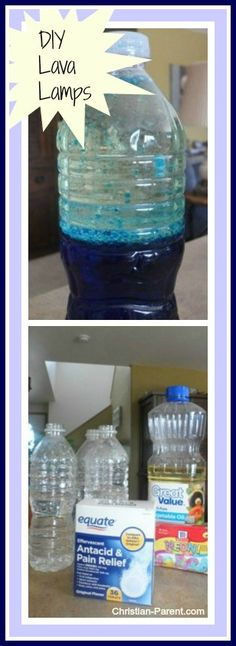 Make a homemade lava lamp with alka seltzer tablets! Fun summer science experiment for kids.