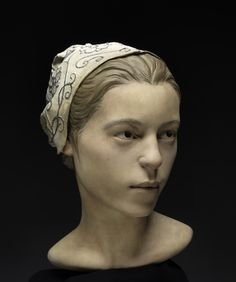 This April 2013 photo shows a forensic facial reconstruction produced by StudioEIS of Brooklyn, N.Y. in consultation with Smithsonian researcher based on human remains excavated in James Fort, Jamestown, Va. by William Kelso, chief archeologist at the Jamestown Rediscovery Project.