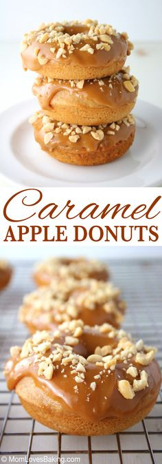 Caramel Apple Donuts are baked donuts made from scratch dipped in an ooey gooey homemade caramel glaze plus chopped peanuts on top. Baked Donut Recipes, Baked Doughnuts, Apple Recipes, Baking Recipes, Baking Desserts, Just Desserts, Dessert Recipes, Zack E Cody, Mini Donuts