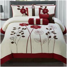 Found it at Wayfair - 7 Piece Comforter Set Luxury Comforter Sets Queen, Red Comforter Sets, Girl Bedroom Walls, Bedroom Colors, Bedroom Decor, Cool Comforters, Bedspreads, Bed Cover Design, Designer Bed Sheets