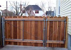 Cedar rv gate with man door - Modern Design Building A Wooden Gate, Wooden Garden Gate, Wood Fence Gates, Wooden Gates, Wooden Fences, Fence Doors, Fencing, Cedar Gate, Cedar Fence