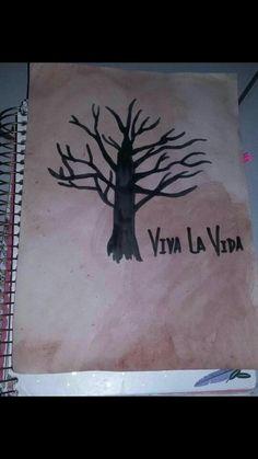 #Picture #árvore #Viva la vida #quadro #tumblr Diluir tinta em água,pintar toda a Folha,escolher um desenho e pintar com uma canetinha preta! Pronto!  Seu quadro está pronto😆
