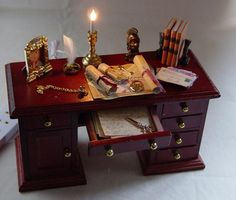 The Dolls House Miniature Filled Study Desk by uniqueminiatures, £28.00