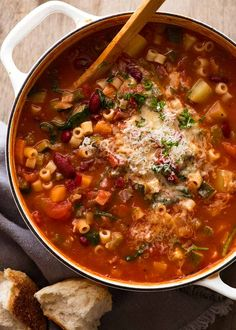 Overhead photo of pot of Minestrone Soup Soup Recipes, Dinner Recipes, Cooking Recipes, Healthy Recipes, Healthy Meals, Dinner Ideas, Recipetin Eats, Recipe Tin, Small Pasta