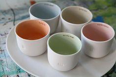 Love, love, love these small, simple tea mugs. Gleena Ceramics.