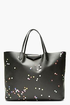 ce19b5c654 GIVENCHY Black Canvas Confetti Large Antigona Shopping tote Givenchy Tote  Bag