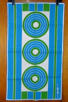 Mod Retro Scuda Art Fabric Panel Green Blue Circles Kitchen Towel | eBay