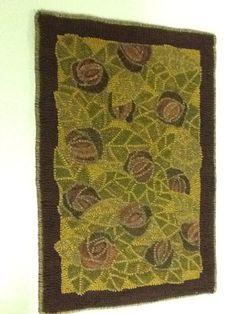 "Primitive Folk Art Hand Hooked Wool Rug 24 x 37"" Hooking Hook | eBay"