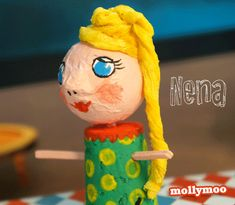 "Meet Nena - glamour puss tightrope walker from my new ""Circus In My Pocket"" craft - made from winecork, polystyrene craft ball, matchsticks, tissue and paint.... http://mollymoo.ie/2012/09/new-craft-circus-in-my-pocket/"