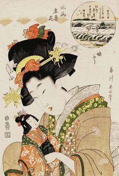 blackcoffeecinnamon:  Kikugawa Eizan (1787-1867) 菊川 英山 Snow on...