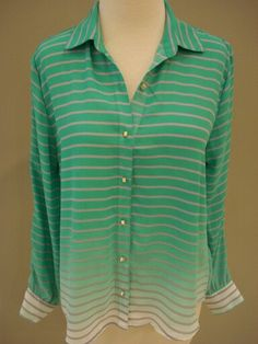 Green stripe ombre button-up blouse