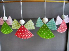 little angel ornaments made from cupcake liners. Nice project with a small child.