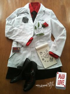 Batman : Animated Series Season 4 Episode 21 : Mad Love Dr. Harleen Quinzel Costume White Arkham Asylum Lab Coat Red Shirt Black Tie , Skirt and Shoes Glasses Name Tag Access ID Note Pad Red Rose s...
