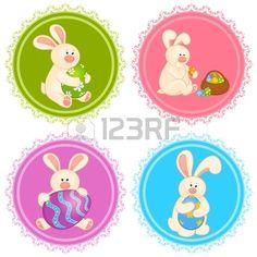 Conjunto de conejos de Pascua con huevos de colores. Tarjeta de Pascua Foto de archivo