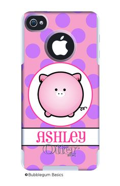 OTTERBOX Commuter iPhone 5 4/4S Case Pink Polka Dot Pig Piggy Personalized Monogram