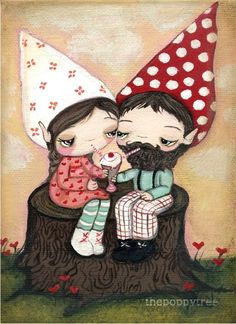 Gnome Print Cute Couple Tree Stump Girl Boy Wall by thepoppytree, $12.00