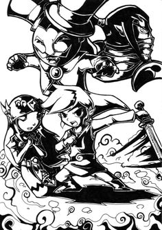 Zelda Spirit Tracks black  white_ currently playing this on my pc :)