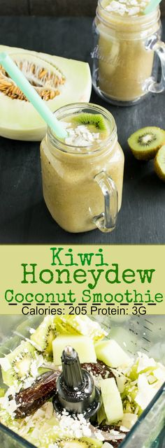 Kiwi Honeydew Coconut Smoothie - is thick and filling and sometimes serves as my lunch too. A delicious and healthy make ahead smoothie. Mint Smoothie, Coconut Smoothie, Honeydew Melon, Best Smoothie Recipes, Punch Recipes, Shake Recipes, Melon Recipes, Drink Recipes, Kitchens