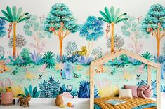 Colourful Jungle Wallpaper bedroom for kids room, nursery or bedroom. Hand Painted originally and reproduced onto high quality wallpaper mural. Hand Painted Wallpaper, Wallpaper Size, Painting Wallpaper, Adhesive Wallpaper, Wallpaper Samples, Pattern Wallpaper, Jungle Scene, Water Based Stain, Pastel