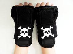 Skull and Crossbones Roller derby wrist bands, Roller derby wrist guard velcro covers, arm bands, Sports Bands, Roller Derby wife Gift