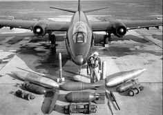 A Martin B-57 Canberra Bomber with accessories