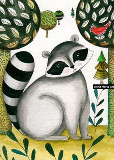 Racoon and Cardinal Bird Woodland Nursery Art , Folk art painting , Wall Art, Wall Decor Art Home racoon illustration by Gloria Marco
